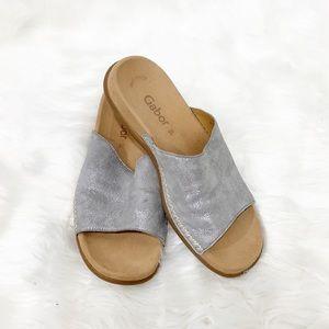 Gabor 03.705 Metallic Silver Slide Sandals